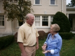 John Wietzel talking with Barb Deck Staley at Hawthorn House Tour